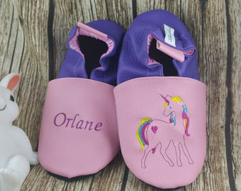 Slippers soft leather, leatherette shoe baby Bootie boy, girl, kids slippers, slippers custom slippers, Unicorn