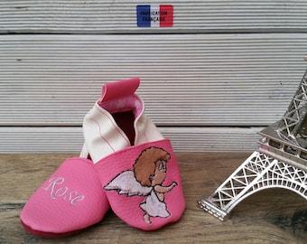 Slippers soft leather, leatherette slipper baby, boy, girl, child slippers custom slippers slipper shoe, Angel