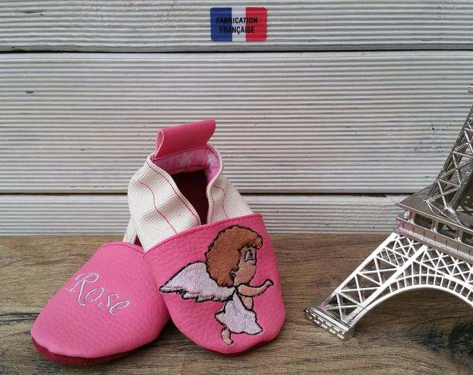 Soft leather slippers, faux leather, baby slipper, boy slipper, girl slipper, child slipper, custom slipper, angel
