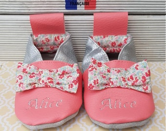 Soft leather slippers, faux leather, baby slipper, girl slipper, child slipper, custom slipper, limited edition Alice