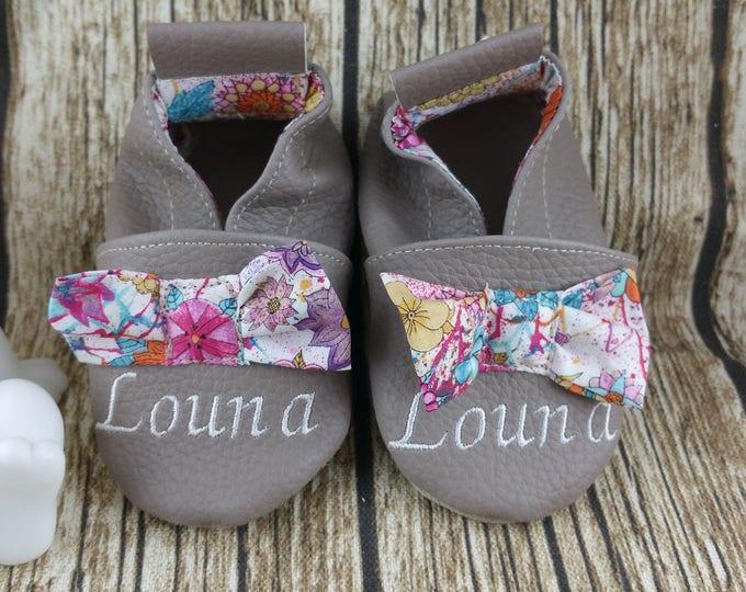 Soft leather slippers, faux leather, baby slipper, boy slipper, girl slipper, child shoe, custom slipper, sewn knots