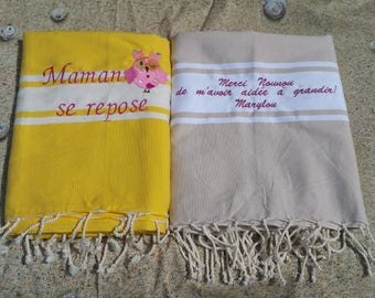 Fouta embroidered (the set of 2 foutas to customize, pattern and color to define when ordering)