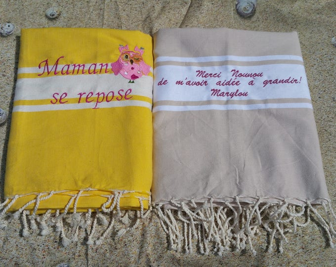 Embroidered foutas (The batch of 2 foutas to customize, pattern and colors to define when ordering)