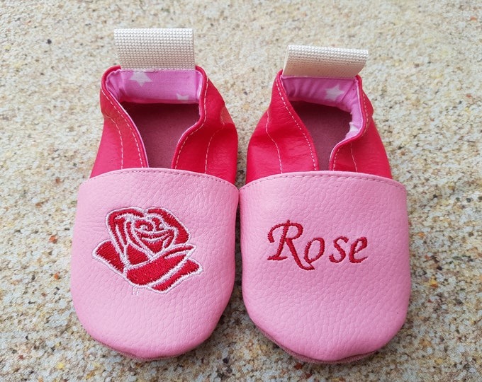 Soft leather slippers, faux leather, baby slipper, boy slipper, girl slipper, child slipper, custom slipper, pink