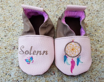 Soft leather slippers, faux leather, baby slipper, boy slipper, girl slipper, child slipper, custom slipper, catches dreams