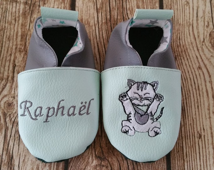 Soft leather slippers, faux leather, baby slipper, boy slipper, girl slipper, child slipper, custom slipper, cat