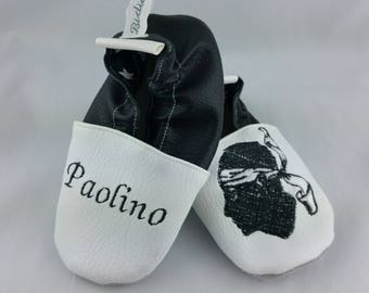 Slippers soft leather, leatherette, slippers, baby, boy, girl, kids slippers, slipper personalized shoe slipper Corsica