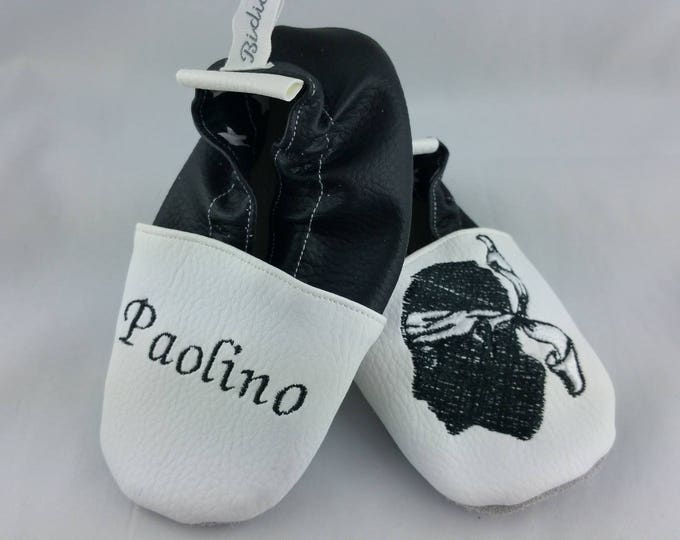 Soft leather slippers, faux leather, baby slipper, boy slipper, girl slipper, child slipper, custom slipper, Corsica