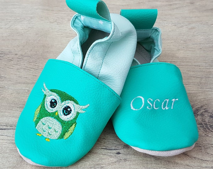 Soft leather, faux leather, lagoon green and water green slippers, custom slipper, owl/owl