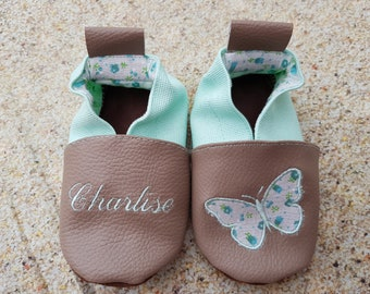 Slippers soft leather, leatherette, baby, boy, girl, child slipper shoe slipper shoe, butterfly, butterfly slippers slipper