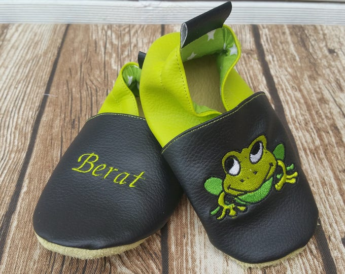 Soft leather, faux leather, baby slipper, boy's slipper, girl's slipper, child's slipper, custom slipper, frog
