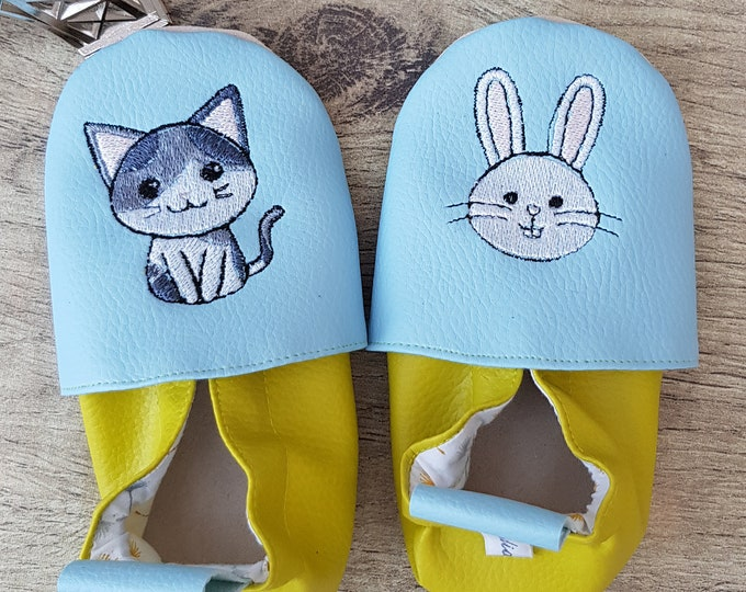 Soft leather, faux leather, chartreuse green and sky blue, child slipper, custom slipper, rabbit and cat