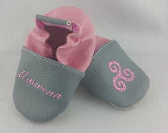 Soft leather slippers, faux leather, baby slipper, boy slipper, girl slipper, child slipper, triskel, custom slippers