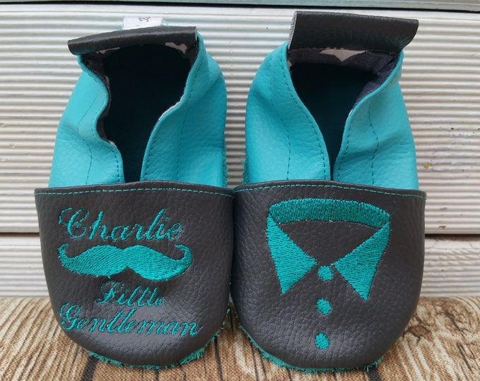 Soft leather slippers, faux leather, baby slipper, boy slipper, girl slipper, child slipper, custom slipper, shirt collar