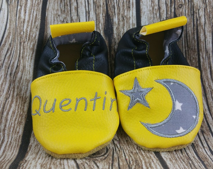 Soft leather slippers, faux leather, baby slipper, boy slipper, girl slipper, child slipper, custom slipper, moon