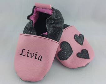 Soft leather slippers, faux leather, baby slipper, boy slipper, girl slipper, child slipper, custom slipper, hearts