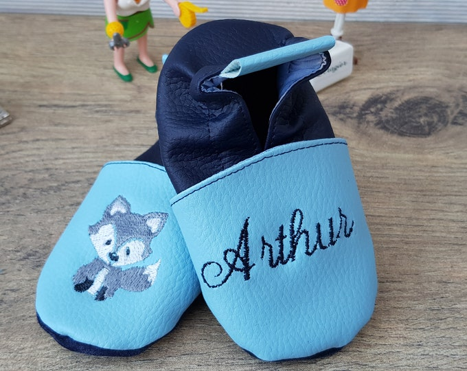 Soft leather, faux leather, sky blue and navy blue slippers, custom slipper, little wolf, grey fox
