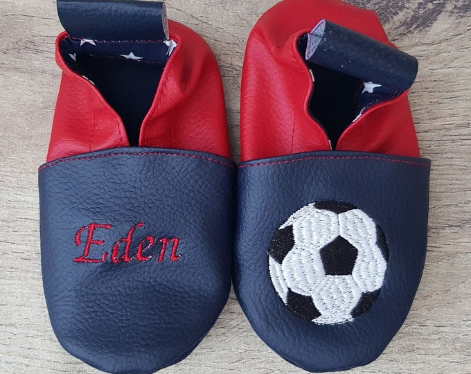 Soft leather, faux leather, baby slipper, boy's slipper, girl's slipper, child's slipper, custom slipper, football