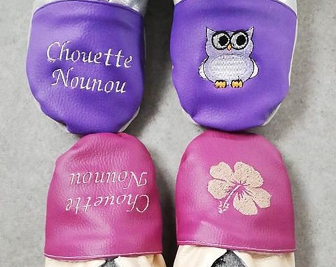 Soft leather slippers, faux leather, adult slippers, grannies' party, Mother's Day, to customize