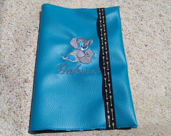 Health booklet protection cover faux leather, boy or girl, embroidered, personalized.