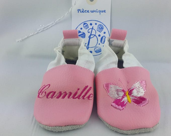 Soft leather slippers, faux leather, baby slipper, boy slipper, girl slipper, child slipper, custom slipper, butterfly