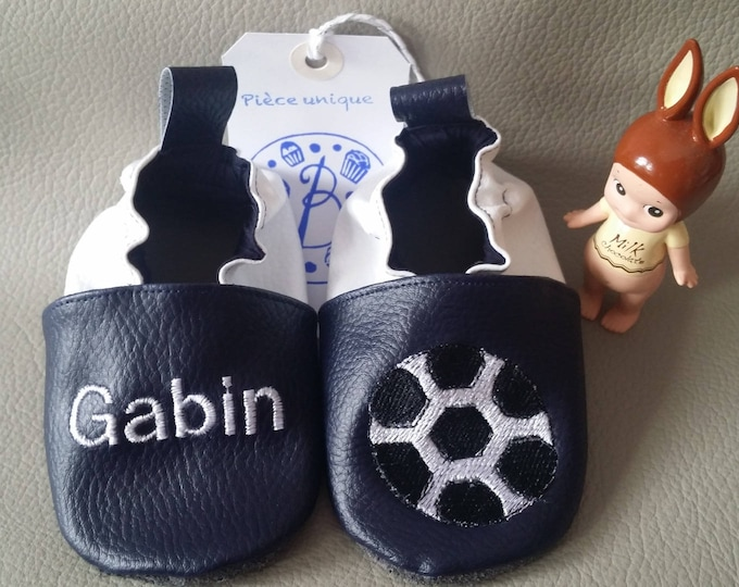 Soft leather slippers, faux leather, baby slipper, boy slipper, girl slipper, child slipper, custom slipper, football