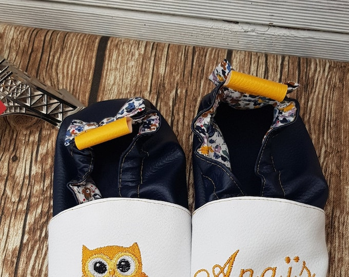 Soft leather, faux leather, owl, owl, children's slipper, custom boot, limited edition