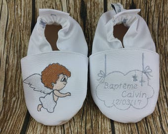 Baby shoes soft leather, leatherette, boy, girl, child slippers custom slippers slipper shoe, Angel