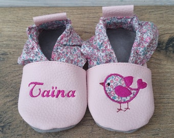Soft booties in leather and leatherette bird slipper baby, boy, girl, kids slippers custom slippers slipper shoe