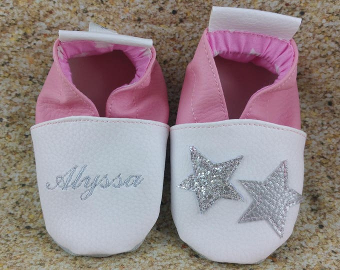 Soft leather slippers, faux leather, baby slipper, boy slipper, girl slipper, child slipper, custom slipper, stars