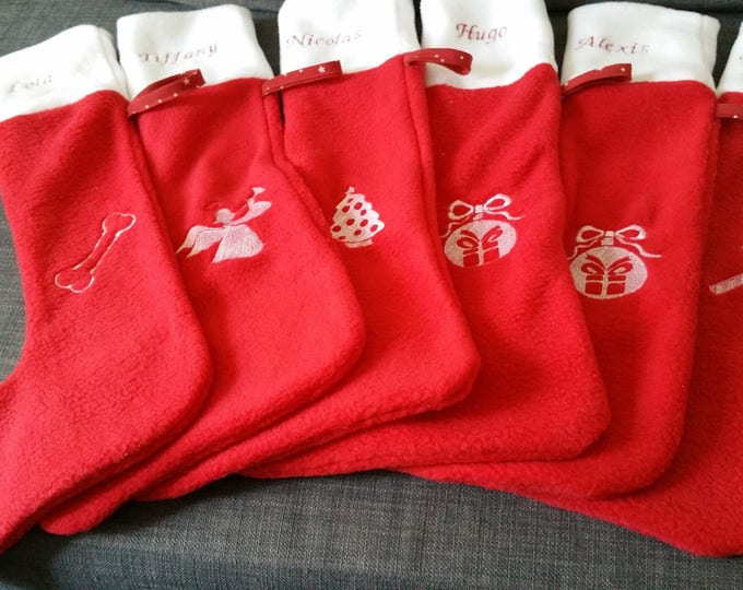 Boot cuffs, cute Christmas stocking in red and white, to be personalized embroidered fleece