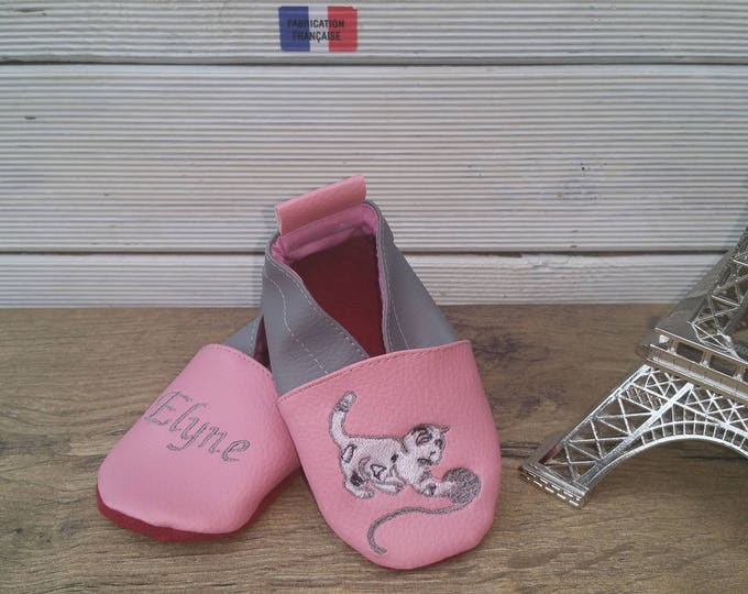 Soft leather slippers, faux leather, baby slipper, boy slipper, girl slipper, child slipper, custom slipper, kitten, cat
