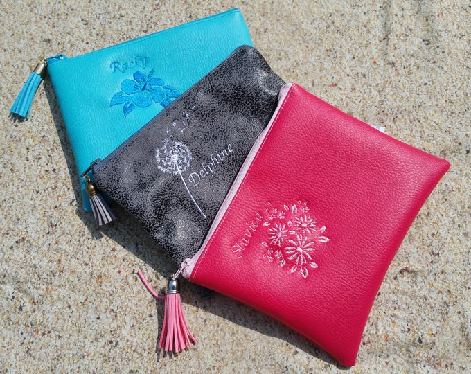 Clutch faux leather Center pocket, Pocket MOM clutch purse, embroidered, custom (sold separately)