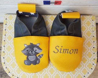Soft leather slippers, faux leather, baby/child slipper, racoon