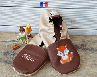 Slippers soft leather, leatherette, adult slippers, grandmothers, mother's day, Fox party