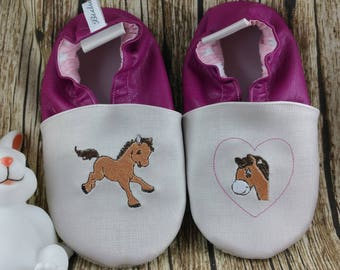 Soft leather slippers, faux leather, baby slipper, boy slipper, girl slipper, child slipper, custom slipper, pony