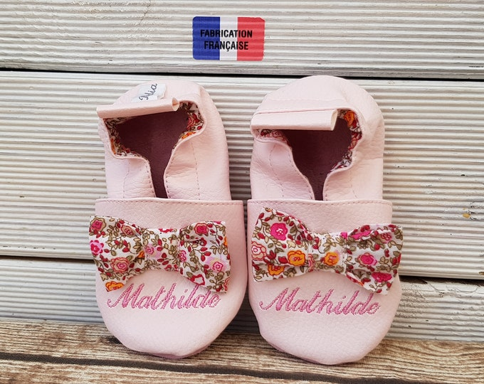 Soft leather slippers, faux leather, baby slipper, girl slipper, child shoe, knot, custom slippers