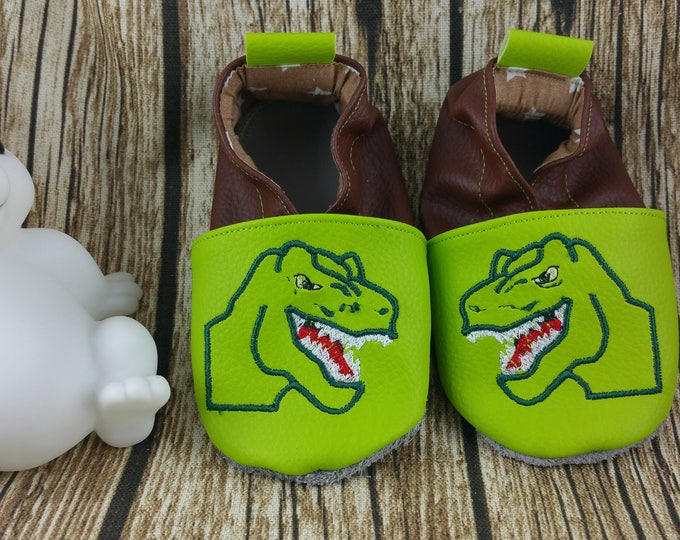 Soft leather, faux leather, neon green and brown, child slipper, custom slipper, dinosaur