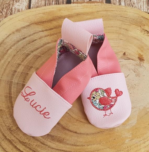 Soft leather slippers, baby slipper, children's slipper, personalized slipper, bird