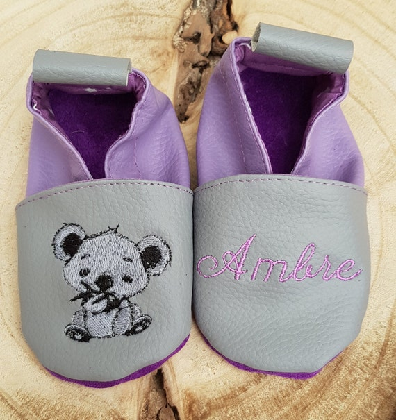Soft leather, faux leather, baby slipper, boy's slipper, girl's slipper, child's slipper, custom slipper, koala