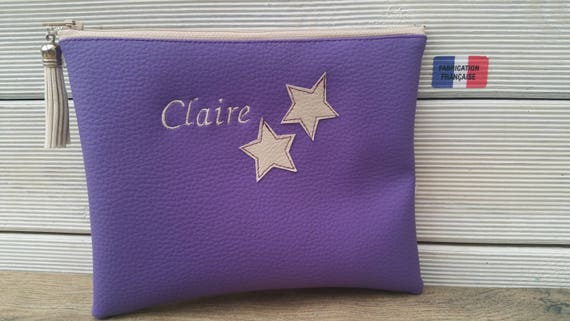 Leather faux woman clutch, master clutch, mom clutch, handbag clutch, embroidered, custom