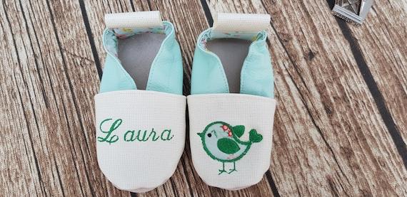 Soft leather slippers, children's slipper, custom boot, limited edition, bird