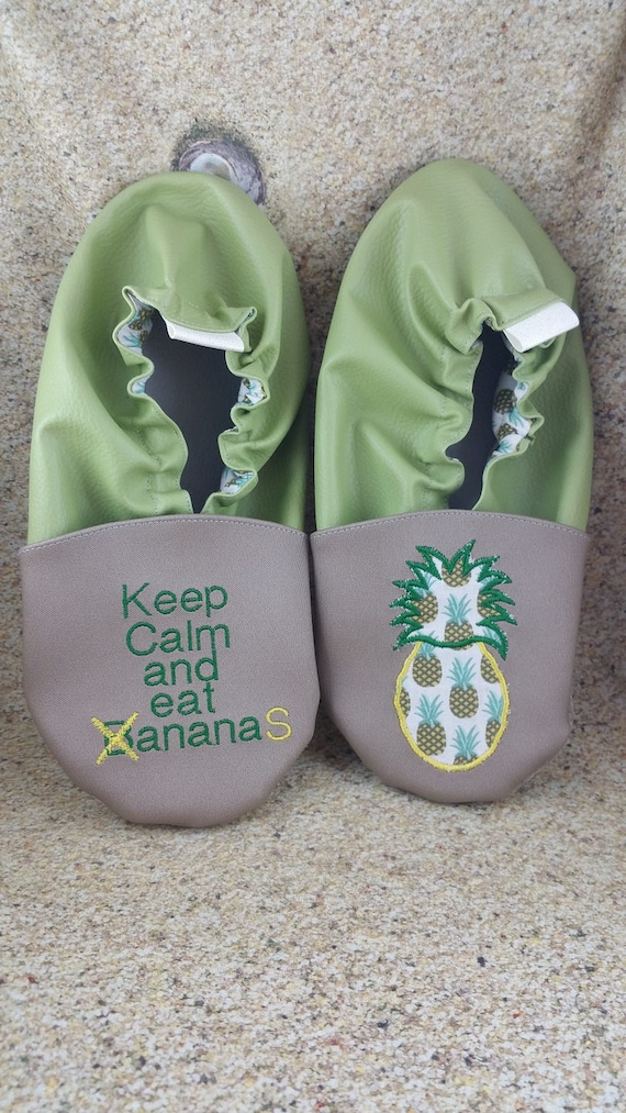 Soft leather slippers, faux leather, baby slipper, boy slipper, girl slipper, child slipper, custom slipper, pineapple
