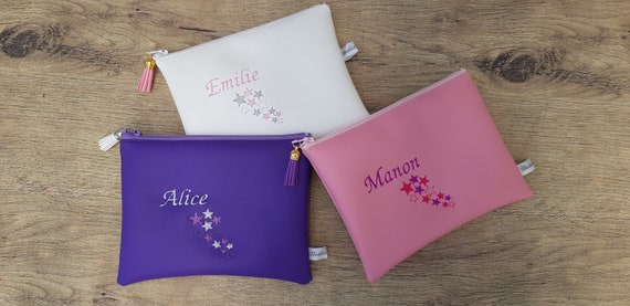 Women's pouch with embroidered stars to customize