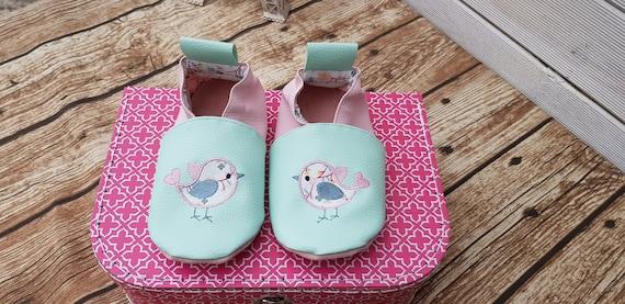 Soft leather slippers, faux leather, baby/girl slipper, child slipper, custom slipper, bird limited edition spring 19