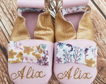 Soft leather, faux leather, baby slipper, girl's slipper, child's slipper, limited edition bow, custom slippers