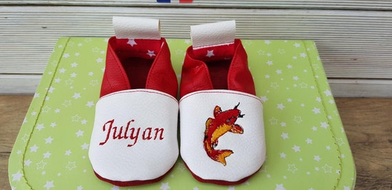 Soft leather slippers, faux leather, baby slipper, boy slipper, girl slipper, child slipper, custom slipper, koi carp