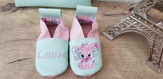 Soft leather slippers, faux leather, baby slipper, girl slipper, child shoe, custom slipper, elephant