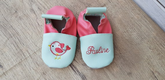 Soft leather slippers, faux leather, baby/girl slipper, child shoe, custom slipper, limited edition green bird