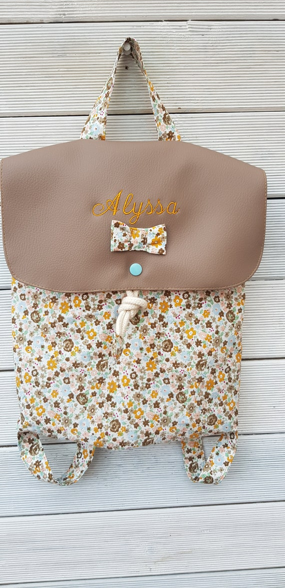 Crib/kindergarten backpack faux leather and limited edition floral cotton, personalized